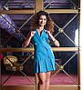 Платье женское голубого цвета, юбка в складку, платье молодежное красивое