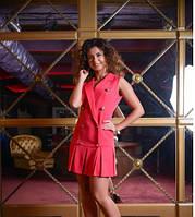 Платье женское малинового цвета, юбка в складку, платье молодежное красивое, фото 1
