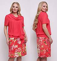 a62ce27852b Платье больших размеров женское летнее трикотаж масло с шифоном коралловое  62