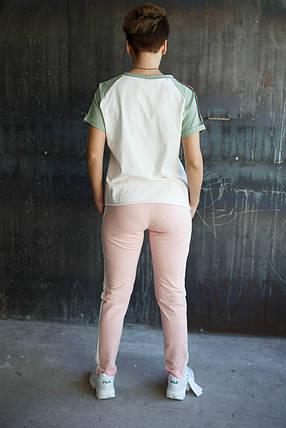 Женские штаны пчела.Розовые,белый лампас , фото 2