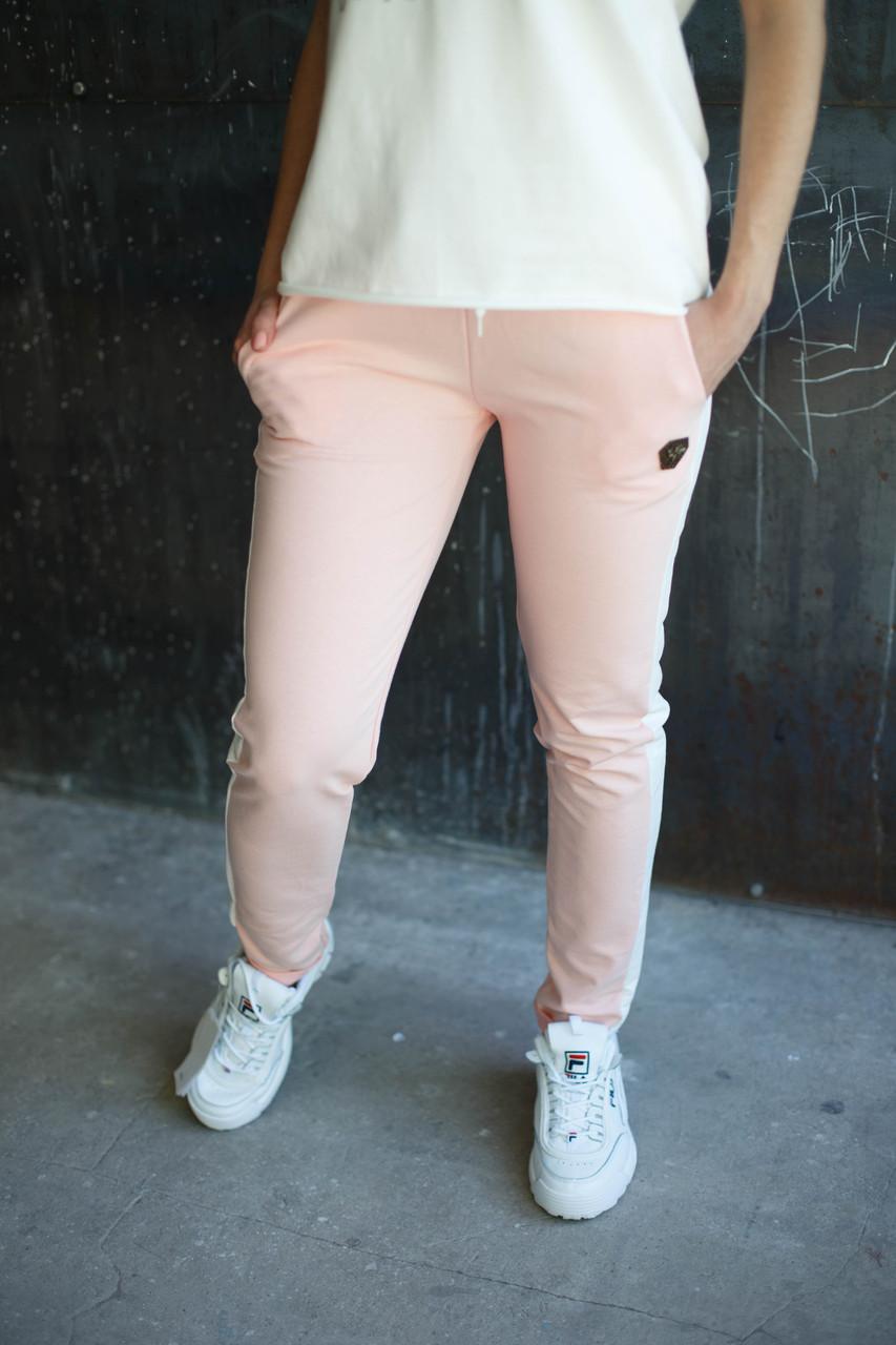Женские штаны пчела.Розовые,белый лампас