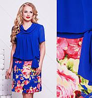 Платье больших размеров женское летнее трикотаж маслос шифоном красное