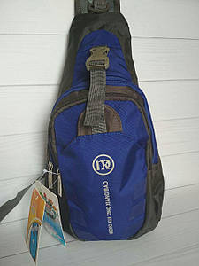 Рюкзак из текстиля синий с карманом сеточка на лямке