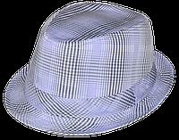 Шляпа детская челентанка х/б клетка св.серая