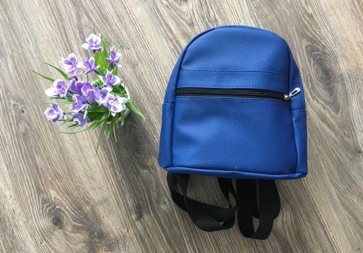 Стильный женский рюкзак маленький синий эко-кожа ЕСТЬ РАЗНЫЕ ЦВЕТА