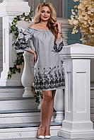 Изящное Летнее Платье из Хлопка с Вышивкой и Бантами Черное S-XL, фото 1