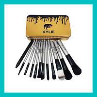 Набор кистей для макияжа Kylie большие серебро 12 шт