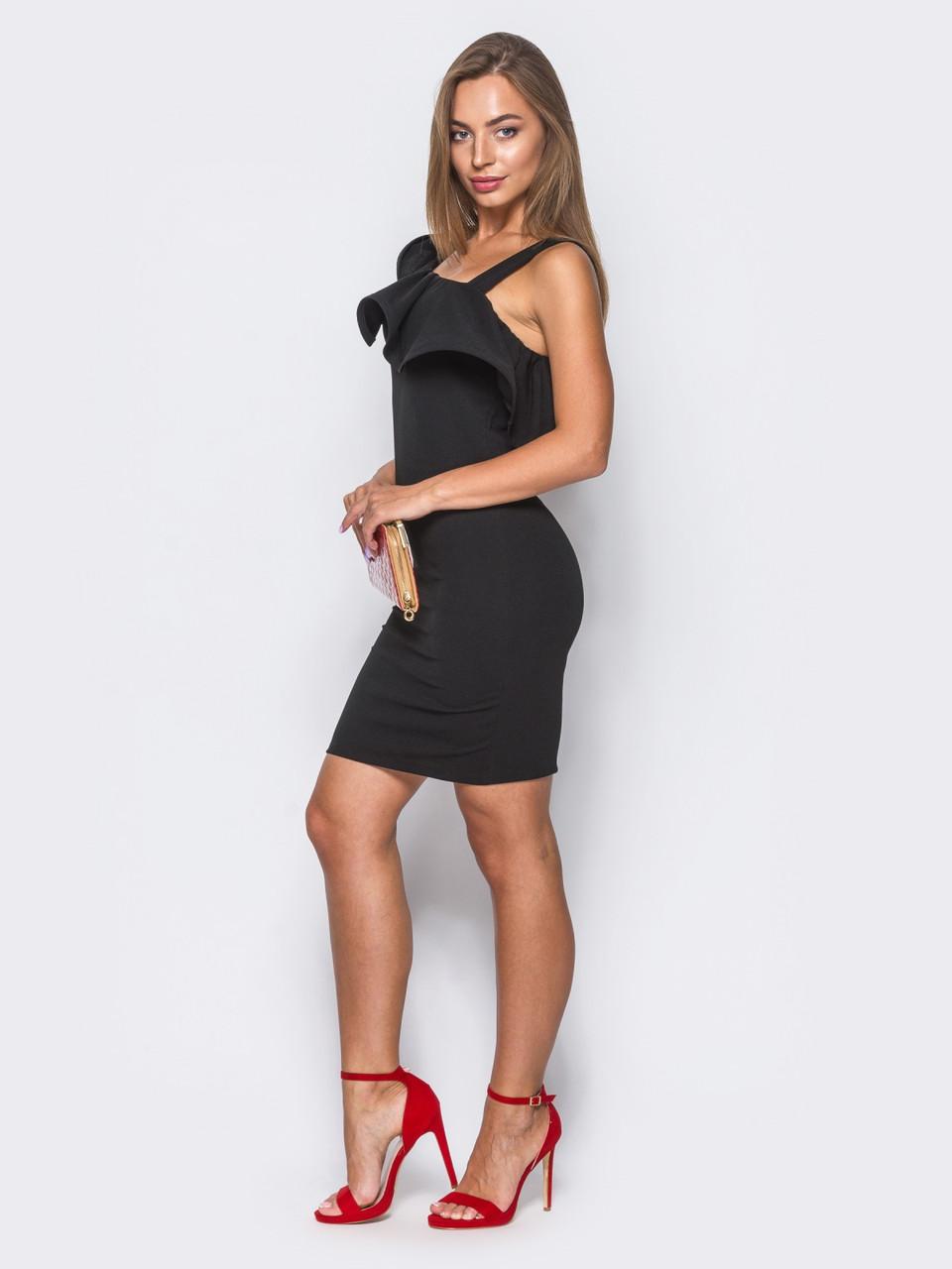 49f1daa0120d5f Витончене коктейльне плаття з бретелей на одне плече чорний розмір  42,44,46,48, цена 615 грн., купить Івано-Франківськ — Prom.ua (ID#705993476)