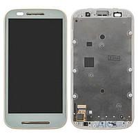 Дисплей Motorola XT1021 Moto E/XT1022/XT1023/XT1025  белый, с передней панелью (дисплей, сенсор, экран)