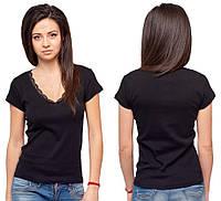 Черная футболка женская летняя с коротким рукавом без рисунка хлопок с кружевом трикотажная (Украина)