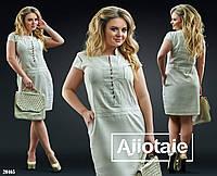 Льняное платье с заниженной талией-св.беж-лен