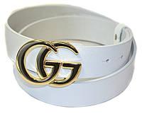 Ремень кожаный Gucci  белый с золотой пряжкой