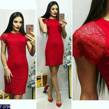 Красное платье из трикотажа, фото 2