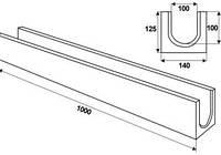 Водоотвод п/п глубокий долгий 1000х140х125 (РА)