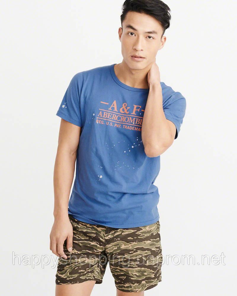 Мужская синяя футболка с принтом популярного американского бренда Abercrombie & Fitch , фото 1