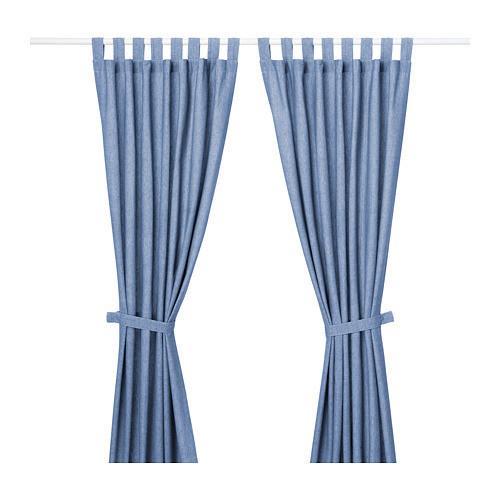 Гардины с прихватом IKEA LENDA 1 пара 140x300 см голубой 403.961.79