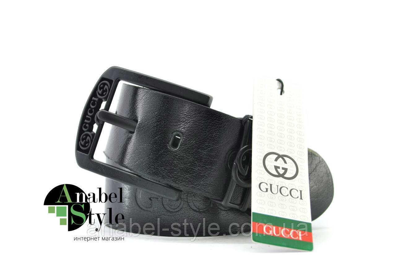 Ремень мужской Gucc1 из натуральной кожи черного цвета с тиснением пряжка классическая Код 10059