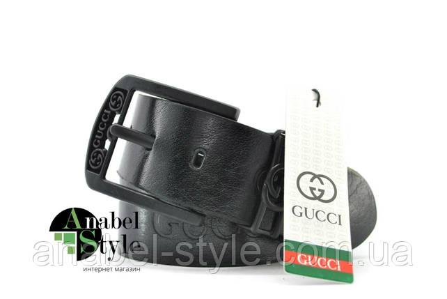 Ремень мужской Gucc1 из натуральной кожи черного цвета с тиснением пряжка классическая Код 10059, фото 2