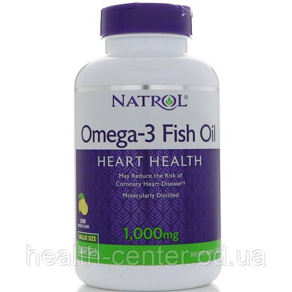 Омега-3 (вкус лимона) 150 капс 1000 мг для сердца укрепление сосудов, улучшение зрения   Natrol USA