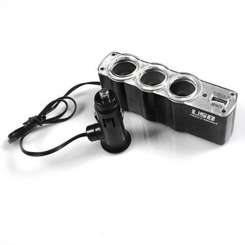 Удлинитель-тройник для прикуривателя авто с USB