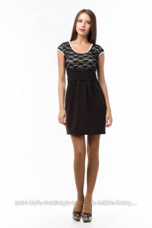 Плаття чорне із завищеною талією, сукня з коротким рукавом молодіжне, красиве плаття з мереживом