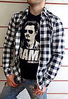 Мужская рубашка в клетку черно-белая на длинный рукав ХИТ 2018!, фото 1