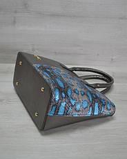 Классическая женская сумка «Две змейки» темно серая, голубая змея, фото 2