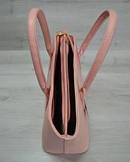 Классическая женская сумка «Две змейки» пудровая рептилия, фото 3