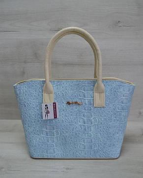 Классическая женская сумка «Две змейки» бежевая, голубой крокодил, фото 2