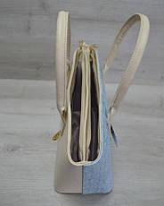 Классическая женская сумка «Две змейки» бежевая, голубой крокодил, фото 3
