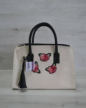 Молодежная женская сумка Кисточка молочная с нашивкой розы, фото 2