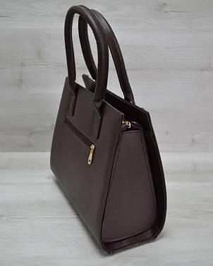 Женская сумка Бочонок коричневая рептилия с коричневым гладким, фото 2