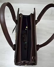 Женская сумка Бочонок коричневая рептилия с коричневым гладким, фото 3