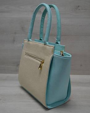 Молодежная женская сумка Комбинированная бежевого цвета с пудровым ремнем, фото 2