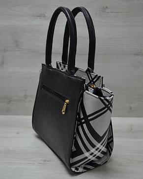 Молодежная женская сумка Комбинированная черного цвета с барбери ремнем, фото 2