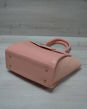 Молодежная женская сумка Комбинированная пудрового цвета с пудровым ремнем, фото 2