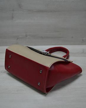 Молодежная женская сумка Ремень кофейного цвета с черным гладким, фото 2