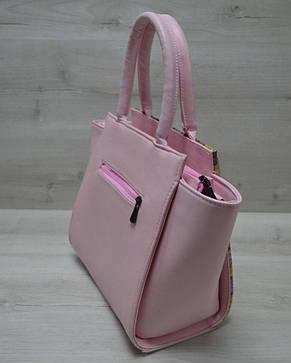 Молодежная женская сумка Ремень желтая змея с розовым гладким, фото 2