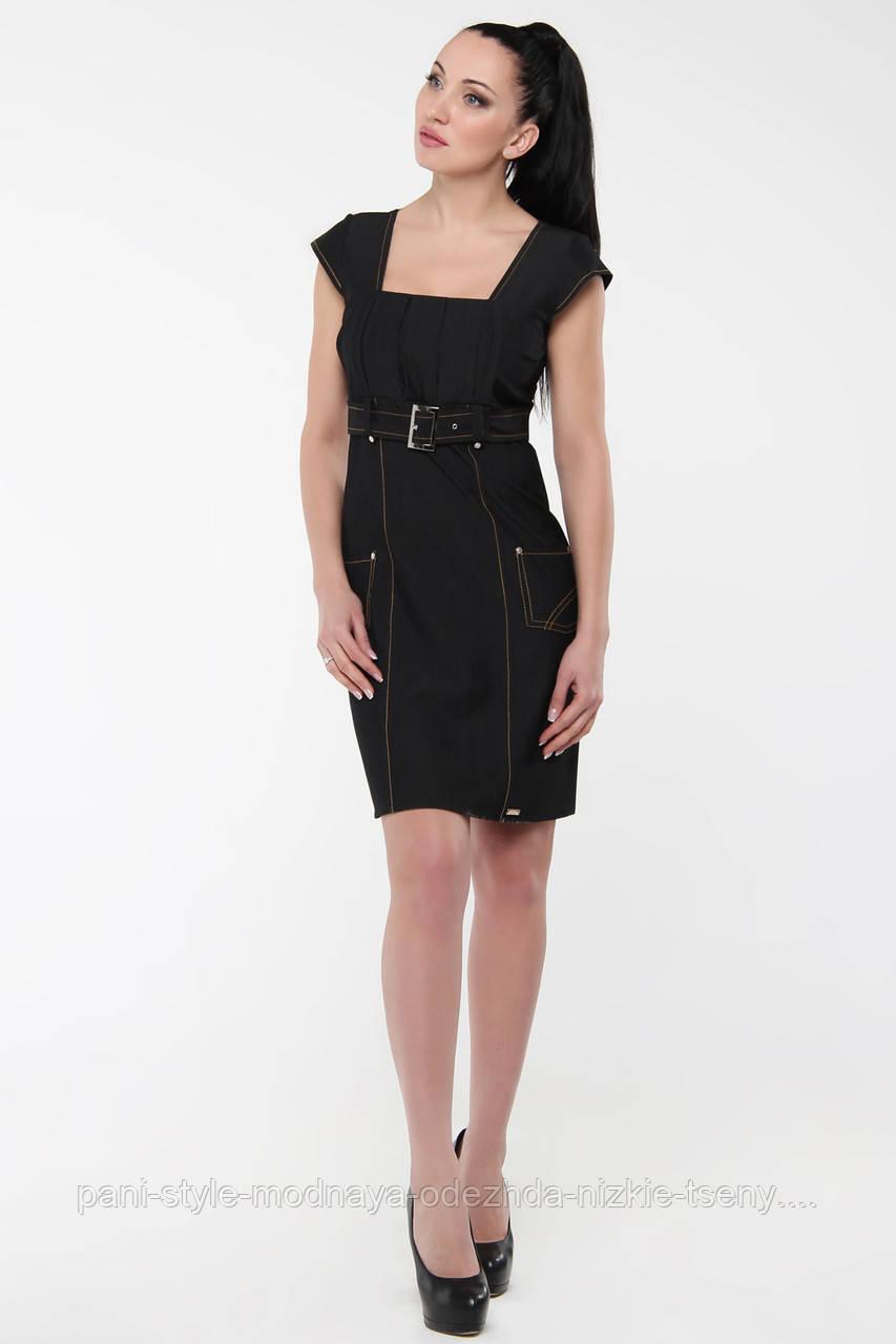 Плаття коттонове по фігурі із завищеною талією глибоке декольте, сукні чорне гарне