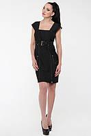 Платье коттоновое по фигуре с завышенной талией глубокое декольте, платье  черное красивое, фото 1