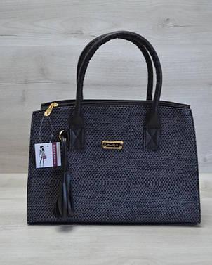 Молодежная женская сумка Кисточка серая змея с черным гладким, фото 2