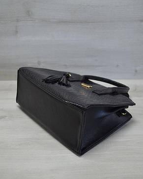 Молодежная женская сумка Кисточка черная кобра, фото 2