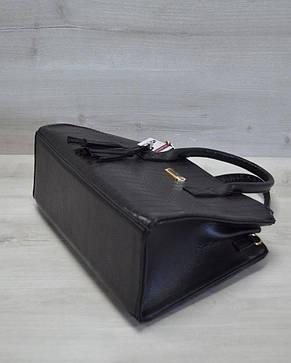 Молодежная женская сумка Кисточка черный крокодил, фото 2