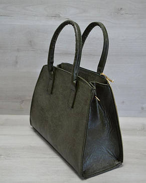 Молодежная женская сумка Кисточка оливковый гладкий, фото 2
