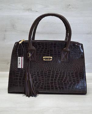 Молодежная женская сумка Кисточка коричневый крокодил, фото 2
