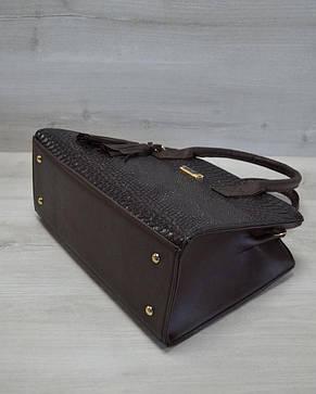 Молодежная женская сумка Кисточка коричневая рептилия, фото 2