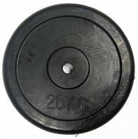 Блины черные обрезиненные 20кг (диам. 30мм) ТА-2188
