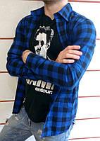 Мужская рубашка в клетку синяя на длинный рукав ХИТ 2018!, фото 1