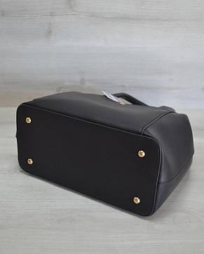 Сумка с карманом на кнопке черного цвета, фото 2
