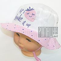 Детская панамка для девочки с завязками р. 46 ТМ Ромашка 4074 Розовый